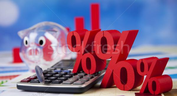 Pourcentage réduction coloré signe rouge Finance Photo stock © JanPietruszka