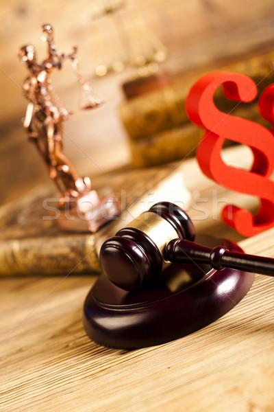 Droit justice paragraphe échelles bois avocat Photo stock © JanPietruszka