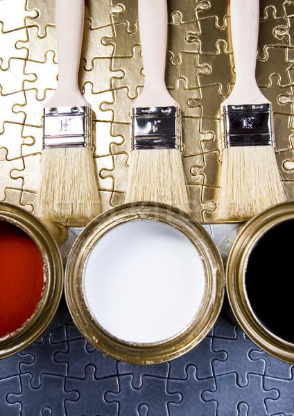 Foto d'archivio: Vernice · pennello · luminoso · colorato · abstract
