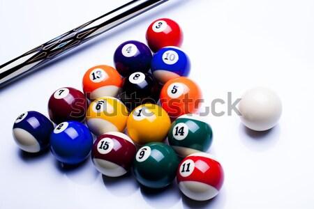 Biliárd asztal golyók élénk színek természetes Stock fotó © JanPietruszka