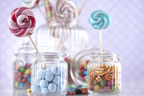 Colorful gum sweet candy and lollipops and gum balls Stock photo © JanPietruszka