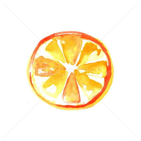 Zdjęcia stock: Pomarańczowy · plasterka · akwarela · ilustracja · biały · sztuki · pomarańczowy