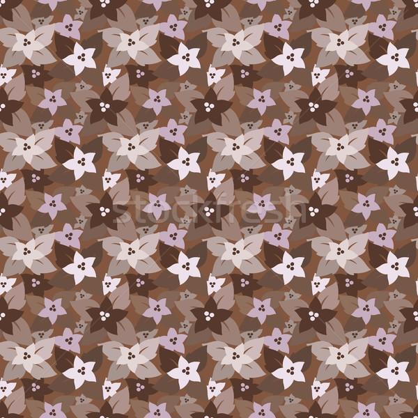 Sem costura floral padrão marrom cores Foto stock © jara3000