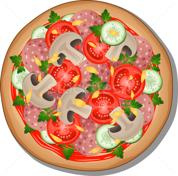 Pizza blanche eps 10 alimentaire art Photo stock © jara3000
