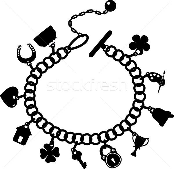 Urok bransoletka sylwetka biały eps 10 Zdjęcia stock © jara3000