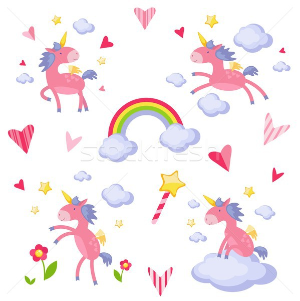 Collection of illustrations with a pink unicorn Stock photo © jara3000