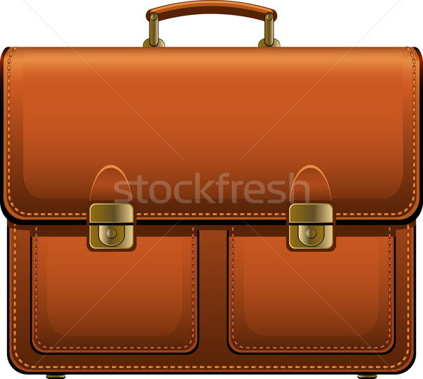 Evrak çantası kahverengi beyaz eps iş çanta Stok fotoğraf © jara3000