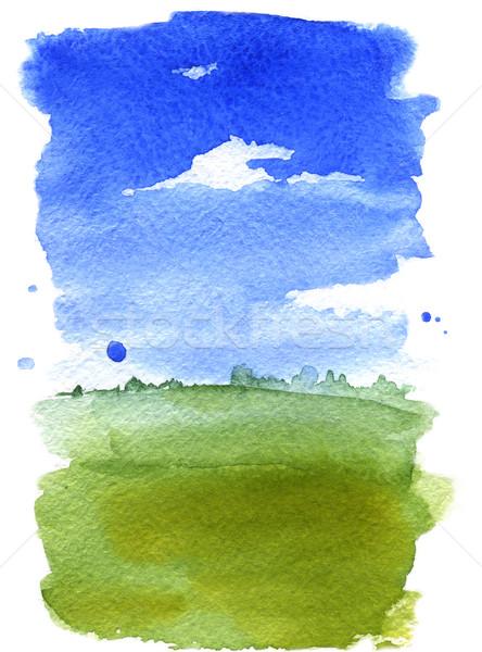 Verão paisagem aquarela ilustração primavera grama Foto stock © jara3000