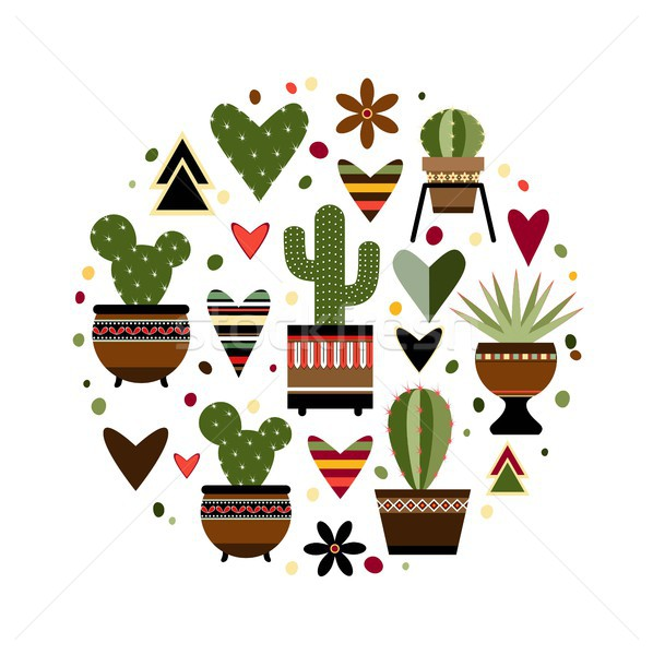 Ilustracja Kaktus kółko eps 10 kwiat Zdjęcia stock © jara3000