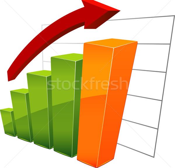 Staafdiagram geïsoleerd witte eps 10 oranje Stockfoto © jara3000