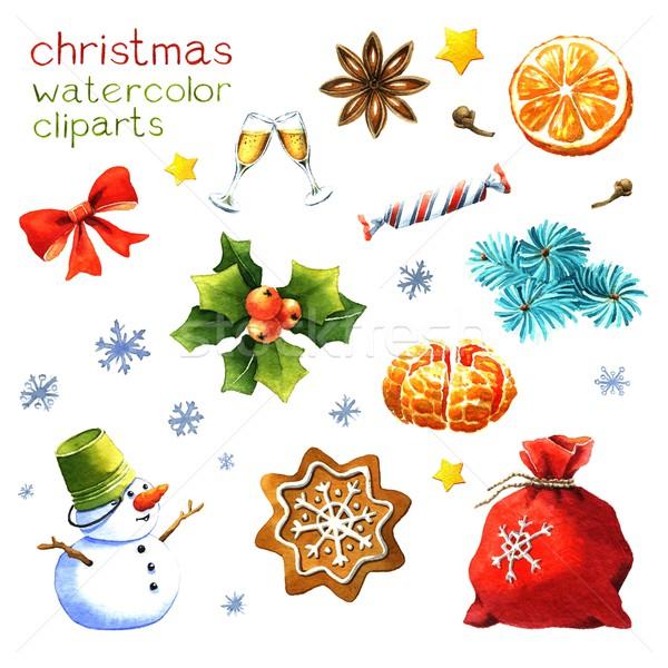 Acuarela Navidad clipart blanco alimentos vino Foto stock © jara3000