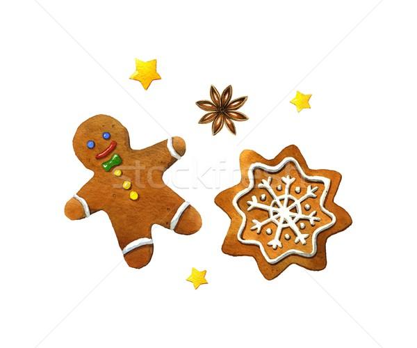 Christmas cookies aquarel illustratie witte voedsel Stockfoto © jara3000