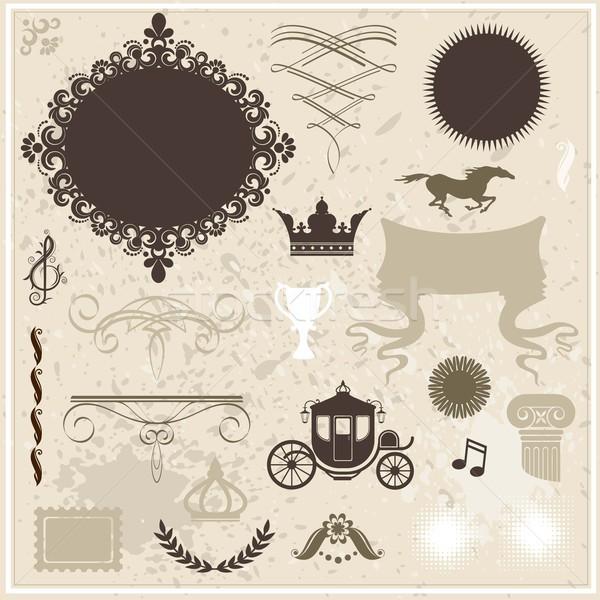 коллекция дизайна Элементы Vintage прибыль на акцию 10 Сток-фото © jara3000