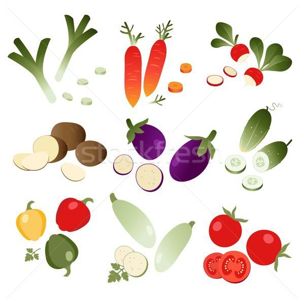 набор овощей белый прибыль на акцию 10 фрукты Сток-фото © jara3000
