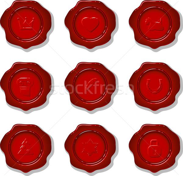 Collectie wax vector zegel witte eps Stockfoto © jara3000