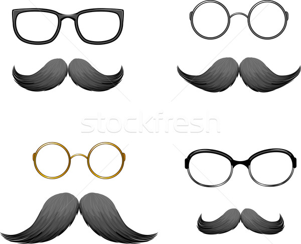 Stock photo: Set of funny masks (mustache and glasses)