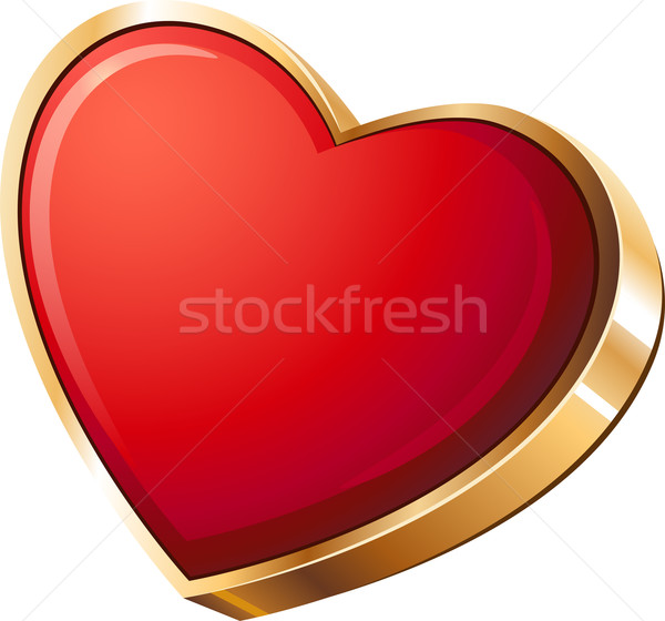Red heart in gold Stock photo © jara3000