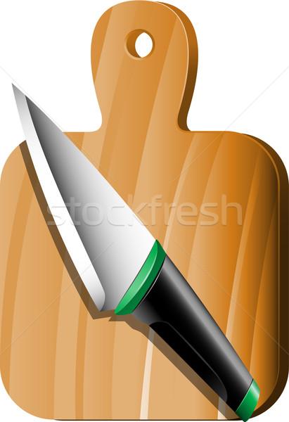 Deska do krojenia nóż biały eps 10 zielone Zdjęcia stock © jara3000