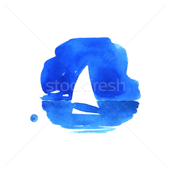 Voilier mer couleur pour aquarelle illustration blanche ciel Photo stock © jara3000
