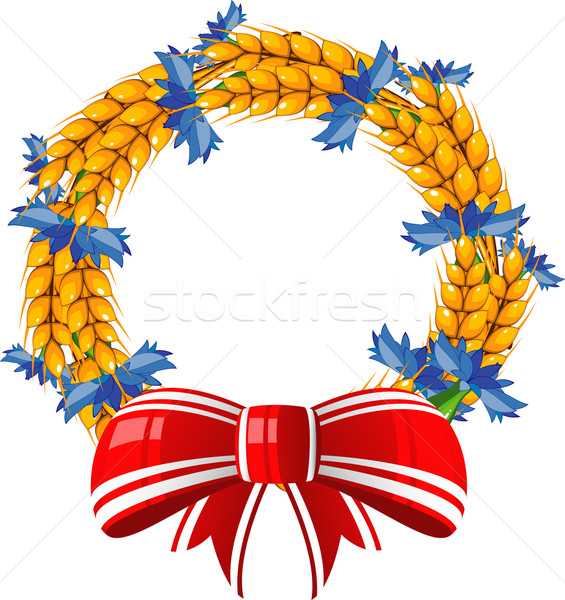 Wreath of ears and cornflower with a red bow Stock photo © jara3000