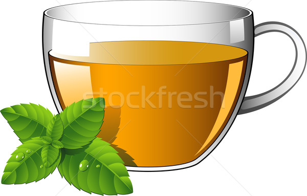 Glass cup of tea with mint leaves Stock photo © jara3000