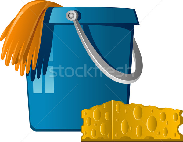 Cleaning: buckets, rubber gloves and sponge Stock photo © jara3000