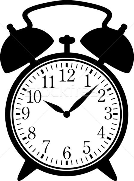Alarm · uhr · silhouette · schwarz · weiß · hand - vektor ...