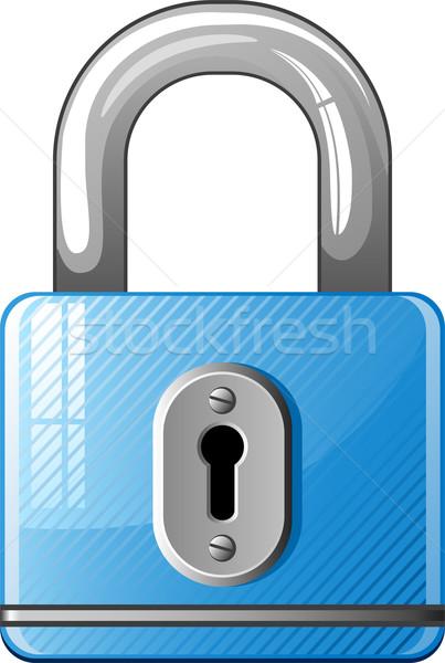 Blu lucchetto icona bianco metal acciaio Foto d'archivio © jara3000