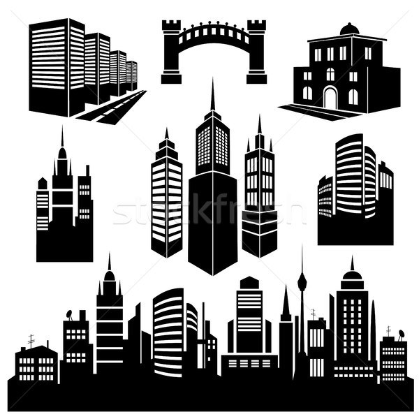 Stock photo: Collection of silhouettes of city images.