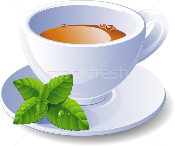 Csésze tea menta fehér kávé művészet Stock fotó © jara3000