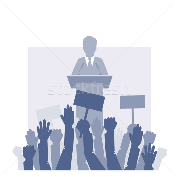 Speaker stands in front of the crowd. Stock photo © jara3000
