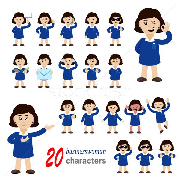 20 femme d'affaires ensemble bureau main Photo stock © jara3000