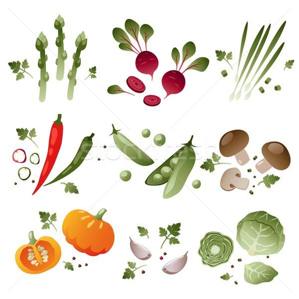 Conjunto legumes branco eps 10 comida Foto stock © jara3000