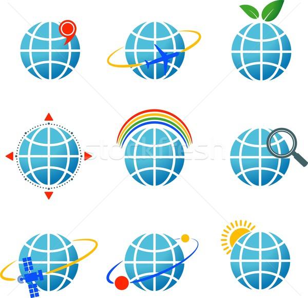 Globe icons set Stock photo © jara3000