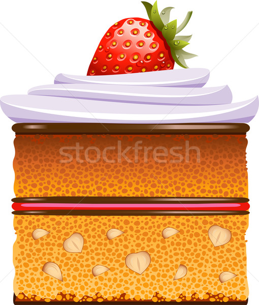 Bolo morangos chantilly branco eps arte Foto stock © jara3000