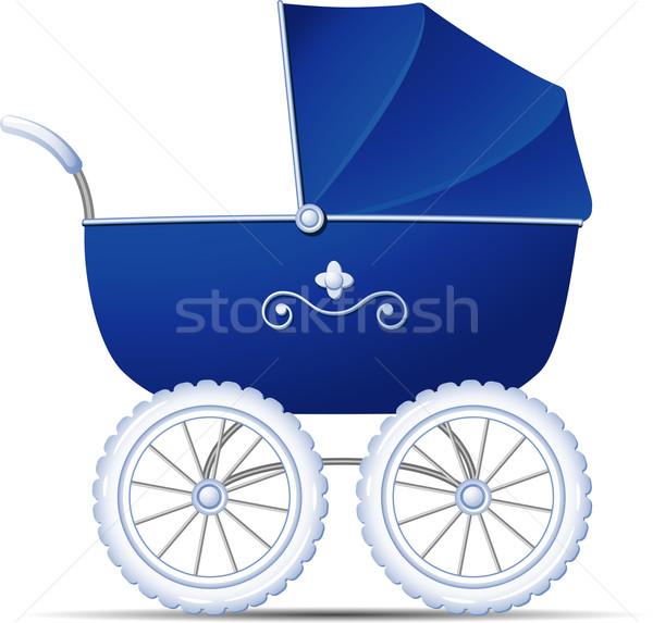 乳母車 青 白 eps 10 赤ちゃん ストックフォト © jara3000