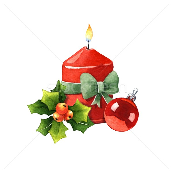 Candle with Christmas decoration Stock photo © jara3000