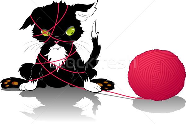 Kitten with a ball of thread Stock photo © jara3000