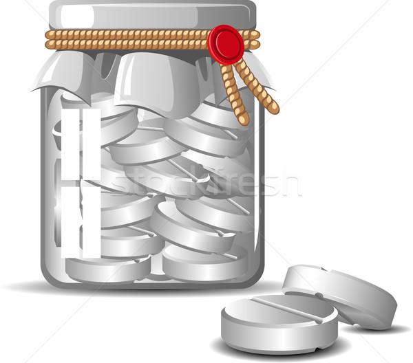 üveg tabletták fehér eps művészet gyógyszer Stock fotó © jara3000