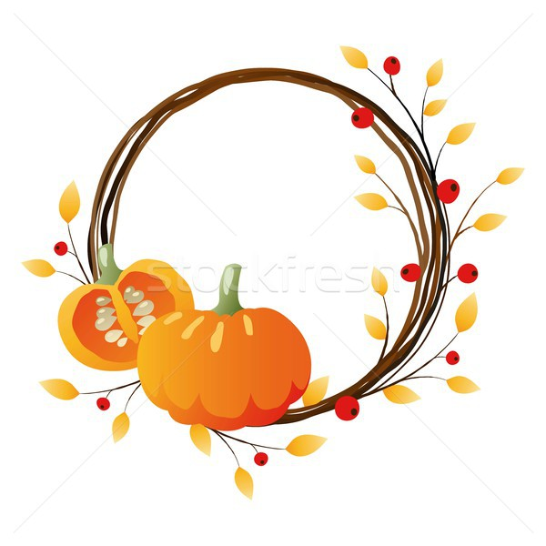 Autumn wreath with pumpkins Stock photo © jara3000