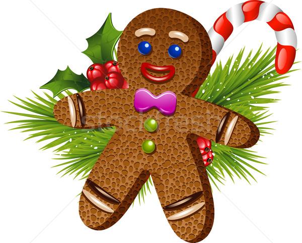Noel gingerbread man beyaz eps 10 adam Stok fotoğraf © jara3000