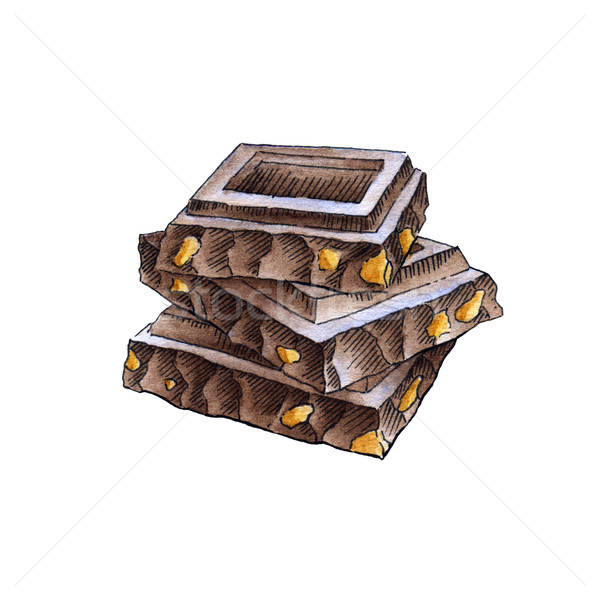 Chocolate pieces in the stack Stock photo © jara3000