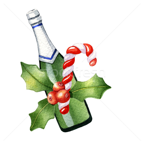 Aquarel christmas champagne snoep bessen witte Stockfoto © jara3000