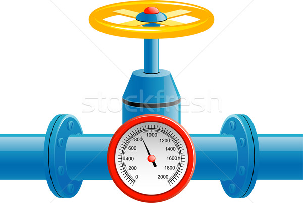Gas pipe valve and pressure meter Stock photo © jara3000