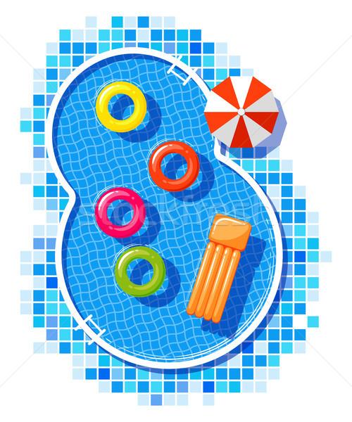Zwembad eps 10 zomer groene reizen Stockfoto © jara3000