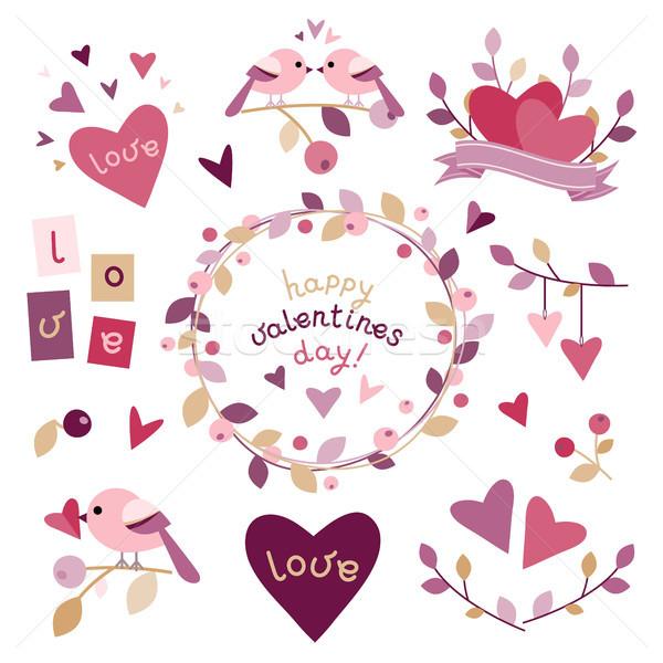 Ingesteld ontwerp communie valentijnsdag eps 10 Stockfoto © jara3000