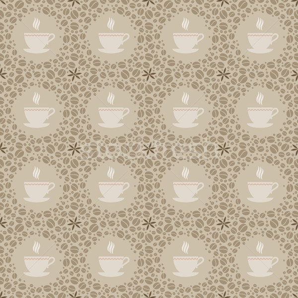 Seamless beige background with coffee motives Stock photo © jara3000