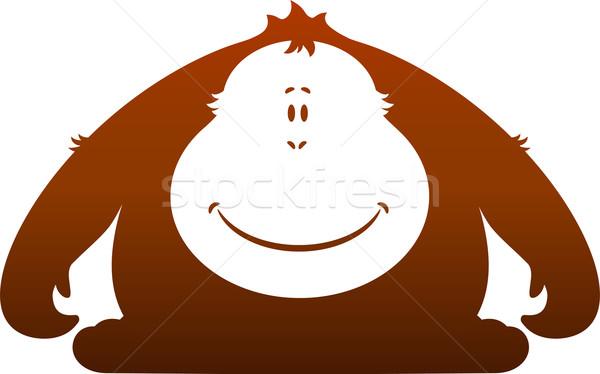 обезьяны силуэта белый ребенка животные улыбаясь Сток-фото © jara3000