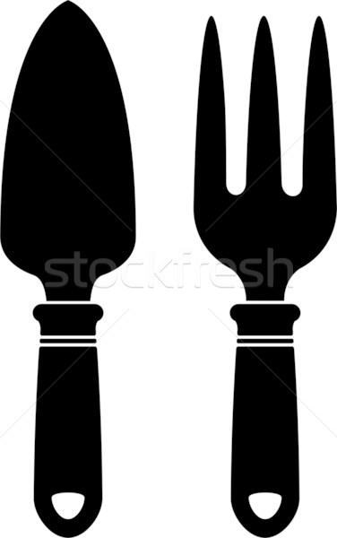Zdjęcia stock: Ogród · narzędzia · sylwetka · biały · eps · 10
