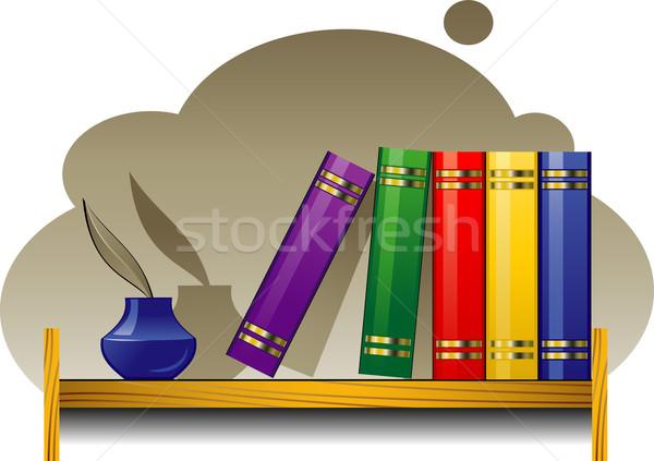 Prateleira de livros livros eps livro caneta educação Foto stock © jara3000